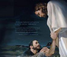 Jézus felemeli Pétert